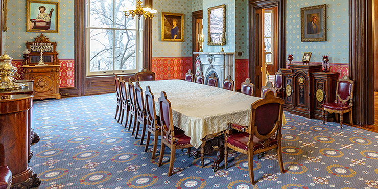 Formal dining room at the Governor's Mansion